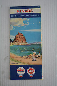 """1957 NEVADA Points of Interest and TOURING MAP  18"""" x 26"""