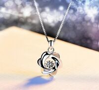 925 Sterling Silver Swirl Stone Pendant Chain Necklace Womens Girls Jewellery UK