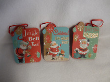 ST.OF 3 CHRSTMAS OH WHAT FUN!/DON'T STOP BELIEVING/JINGLE BELL TIME ORNS-NEW