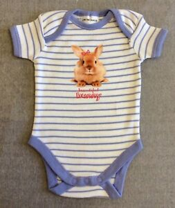 NWT - 0000 - BUNNY THEME - BABY GIRLS BODYSUIT WITH SHORT SLEEVES AND NO LEGS