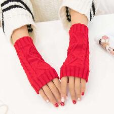 Unisex Men Women Long Gloves Arm Winetr Warmer Fingerless Knitted Cute Mittens