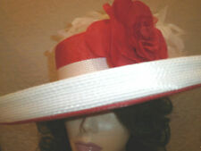 Kentucky Derby Hat BOATERS HAT FLIPPED UP OR DOWN BRIM Red and White & Feathers