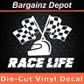 Vinyl Decal * RACE LIFE * Stock Car Racecar Checkered Flag Auto Racing Sticker