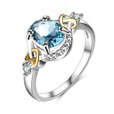 Fashion Silver Rings for Women Elegant Wedding Engagement Sapphire Ring Jewelry 6