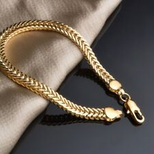 6MM Punk Men's 18K Yellow Gold Plating Bracelet Bangle Chain 21CM Best Gift