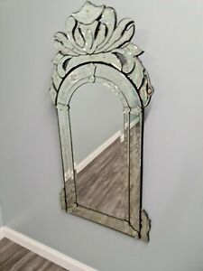 Venetian Etched and Beveled Glass Mirror