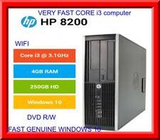 Cheap fast HP Elite 8200 PC Intel core i3 6.2GHz 4GB 250GB DVD-RW WIN 10 wifi