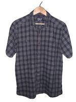 Patagonia Blue Gray Plaid Striped Button Up S/S Shirt Men's Size L