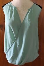 THE LIMITED Womens Baby Blue Black Cross Open Front Stretch Top Blouse Sz M New