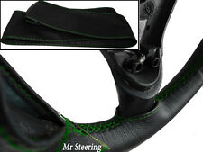 FOR LAND ROVER DEFENDER BLACK REAL LEATHER STEERING WHEEL COVER 90+ GREEN STITCH