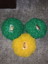 Vintage Rare Dehen Large Cheer Pom Poms 2 Green 1 Yellow USA cheer Oakland A's