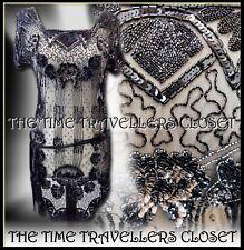 NEW KATE MOSS TOPSHOP EMBELLISHED SHEER BLACK ROARING 20s VTG FLAPPER DRESS UK 6