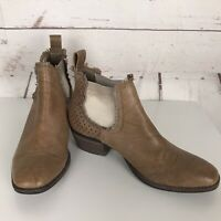 """MIDAS Tan Leather """"Italy"""" Ankle Boots Size 36 Pull On Cowboy Excellent Condition"""