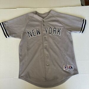 VTG MLB New York Yankees Majestic Jersey Gray Embroidered