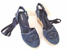 Prada Shoes Denim Blue Canvas Wedge Espadrillies Ribbon Ankle Wrap 40 9US