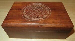 Hand Carved Decorative Wooden Trinket Box With Hinged Lid