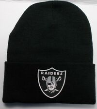 READ LISTING! Oakland Raiders HEAT Applied Flat Logo on Beanie Knit Cap hat!