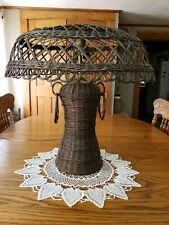 Antique Early 1900's Art Craft Style Woven Wicker Table Lamp 2 Bulb 23