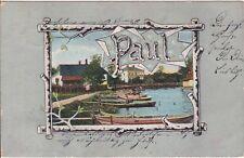 """uralte AK, Stadt mit Booten an einem Fluss, mit dem Namen """"Paul"""", 1905"""