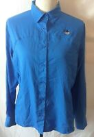 Guy Harvey Womens Shirt Size M Blue Long Roll Tab Sleeve Button Front Vented