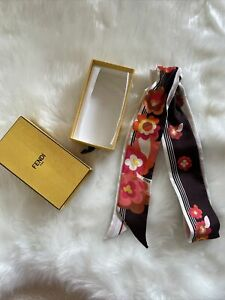 FENDI AUTHENTIC Twilly Silk Floral Stripe Scarf White/Multicolour Dual Sided