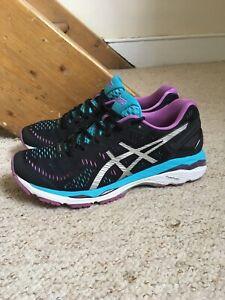 Women's ASICS Gel Kayano 23 Trainers/Shoes Black/Purple UK Sz. 7
