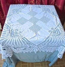 Antique White Linen Drawnwork Battenberg Tape Lace Square Table Cover As Is