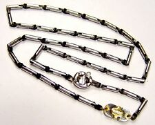 "BARAKA 18K White, Yellow Gold & Ceramic Chain 24"" Long 37.2 grams"
