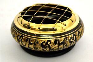 "Black Carved Brass Screen Charcoal Burner 2.75""D 1.75""H w/ Wooden Coaster"