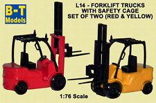 B-T Models L-14 Fork Lift Truck x 2 (1 x Red, 1 x Yellow) 1/76 Scale - T48 Post