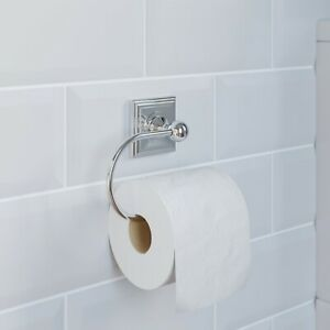 Bathroom Toilet Roll Holder Chrome Square Wall Mounted Stylish Traditional
