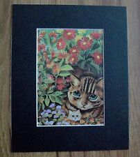 Cat Print Louis Wain Mom With Kitty In Garden Bookplate Kitten 1983 8x10 Matted