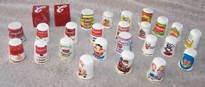 """CAMPBELL'S  SOUP THIMBLES-LOT OF 24 GLASS DIFFERENT DESIGN AND 2 RED """"C"""" BLOCKS"""
