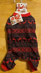 Pet Central Reindeer Winter Dog's Pajamas Black/Red Size S