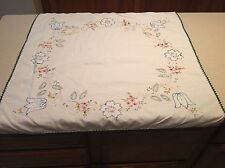 Gorgeous Vintage Embroidered Table Cloth Square Tulips Flowers Super Clean