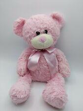 "Animal Adventure Pink Teddy Bear 14"" Plush Satin Ribbon"