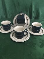"""EPOCH STONEWARE """"BLUE CHINZ"""" - 4 CUPS AND SAUCERS - KOREA - EXCELLENT CONDITION"""
