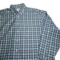 Brooks Brothers Mens Button Down Plaid The Original Blue Teal Polo Shirt SZ XXL