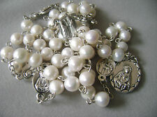 RARE REAL AAA PEARL GIFT ROSARY SEVEN SORROWS MARY MEDAL NECKLACE BOX