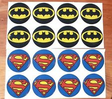 BATMAN AND SUPERMAN Epoxy Stickers 1 inch round for Bottle Cap and Craft Project