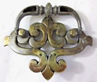 "Drawer 1930 Drop Bail B149 Pull Handle French Lily Aged Brass 1-3/4"" Centers Vtg"