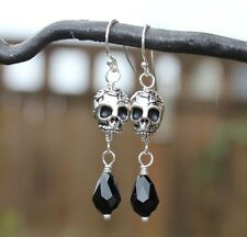 Skull Drop Earrings- Pewter 3D skulls & black crystals- sterling silver hooks