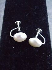 Vintage Jewelry Large Button Pearl Screw Back Earrings