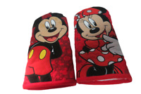 Set Of 2 Mickey And Minnie Mouse Oven Mitts Official Disney Red Black One Size