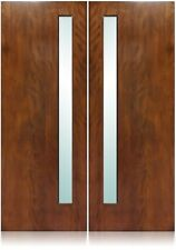 "Avanti Design 72""x96"" Exterior Unfinished Modern Mahogany Double Pre-Hung Doors"