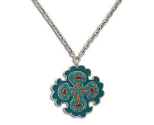 LUCKY BRAND Suzani Blue Enamel Cross Pendant Silver-Tone Long Necklace $59