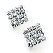 Ladies 4 X 4 Silver Colour Crystal Square Earring. Size 2 Cm