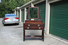 Classical Empire Mahogany Vanity Dresser Dressing Table w Acanthus Carved Mirror