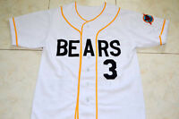 BAD NEWS BEARS MOVIE #3 BUTTON DOWN BASEBALL JERSEY WHITE- ANY SIZE