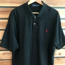 Mens Solid Black Polo Ralph Lauren Red Pony Logo S/S Shirt Golf 2XL